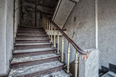 Stairs inside the destroyed building Royalty Free Stock Photography