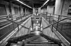 Stairs inside Metro stop station `Dinegro` in Genoa, Italy stock photography