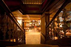 Stairs inside the pub Sarajevska Pivara Pivnica at the main city brewery in Sarajevo royalty free stock photography