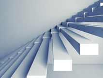 Stairs installation on the wall, 3d interior. Abstract architecture background, stairs installation on the wall, 3d interior illustration with blue tonal filter Stock Photography