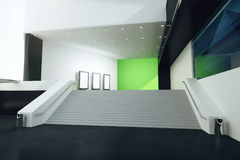 Stairs in interior. Stairs in futuristic interior with green wall, black floor and illuminated ceiling. 3D Rendering Royalty Free Stock Photo