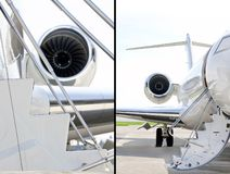 Stairs with jet engine on a private airplane - Bombardier royalty free stock photos