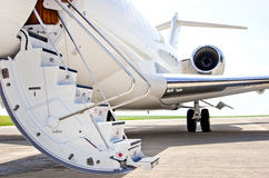 Stairs with jet engine on a private airplane - Bombardier stock images