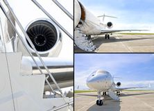Stairs with jet engine on a private airplane royalty free stock image
