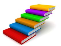 Stairs ladder of colorful books on white Stock Photo