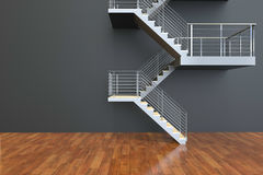 Stairs leading Black and Empty room Royalty Free Stock Photos