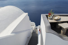 Stairs leading down to Aegan Sea. Oia, Santorini, Greece. Royalty Free Stock Images