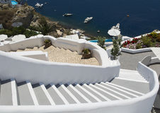 Stairs leading down to Aegan Sea. Oia, Santorini, Greece. Stock Photo