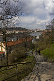 Stairs leading down from the Vysehrad park to the banks of Vltava river in Prague Royalty Free Stock Photos