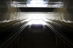 Stairs leading out of concrete pedestri subway. Stock Photos