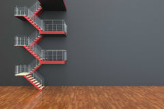 Stairs leading Red and Empty room Stock Image