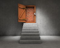 Stairs to a blocked door Stock Photography