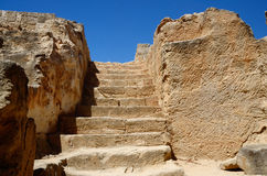 Stairs leading to catacombs of tombs of the Kings, Cyprus stock image