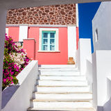 Stairs leading to colorful house on Santorini island, Greece Royalty Free Stock Photo