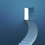 Stairs leading to door. Stairs leading to a door opening to white space, peace and freedom concept royalty free illustration