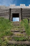 Stairs leading to old fortified settlement. At the birów limestone mountain, Poland Stock Photo