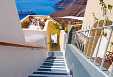 The stairs leading to the port in Fira town on the island of Santorini, Greece. Royalty Free Stock Photo