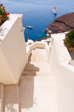 The stairs leading to the port in Oia town on the island of Santorini, Greece. Royalty Free Stock Images
