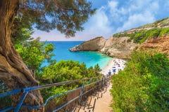 Aerial view of Porto Katsiki beach in Lefkada stock images