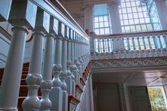 Stairs leading to the second story of Independence Hall stock photography