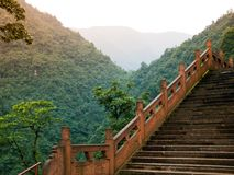 Stairs leading to summit of Mount Emei Royalty Free Stock Photography