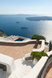Stairs leading to Terrace by the sea in Santorini Greece Stock Images