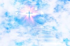 Free Stairs Leading To The Sky With Cross And Flying Doves Royalty Free Stock Images - 173348429