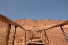 Stairs leading to the top of the red mountain Stock Images