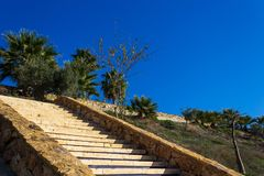Stairs leading to the village stock photography