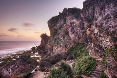 Stairs Leading up the Cliffs at Sunset Royalty Free Stock Photos