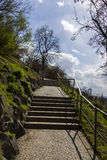 Stairs leading up the hill in a park during late spring Stock Image