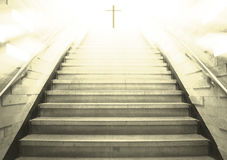 Stairs leading up to the cross vector illustration