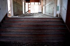 Stairs in an Old Abandoned School Royalty Free Stock Images