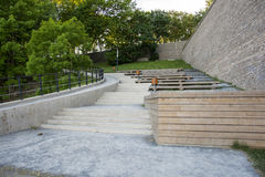 Stairs leading uphill. To a park Royalty Free Stock Photos