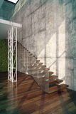 Stairs in Living room interior. 3d rendering.Modern loft Living room interior, with wooden stairs and concrete wall Stock Image