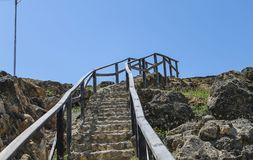Stairways aimed at the sky. Stairs located in the ruins of Castillo de Araya in Sucre, Venezuela Royalty Free Stock Photo