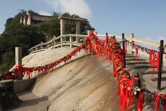 Stairs with locks at Hua Shan Mountain, China stock photo