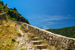Stairs on Lovcen Mountain. From old town Kotor, Montenegro Royalty Free Stock Photos