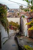 Stairs in Lyon in France. Stairs and view over the roofs of Lyon in France Royalty Free Stock Image