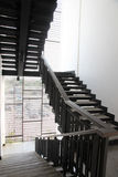 Stairs made of black wood. Royalty Free Stock Photos