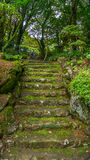Stairs made out of stone in a mountain in Nagasaki, Japan. Royalty Free Stock Photography