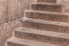 Stairs made of red granite Stock Photo