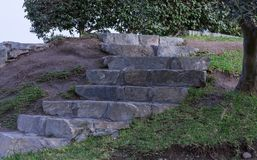 Stairs Made Of Tones And Cement. Stairs made of large grey stones and cement surrounded by grass and trees near a urban area Stock Images