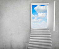 Stairs and magic doors leading to a cloudscape Royalty Free Stock Photo