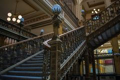 Stairs Main post office Mexico. Mexico city, CDMX, Mexico 31/1/19 Interior of Main Post Office, the beautiful Postal Palace of Mexico city also known as Correo stock photos