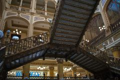 Stairs Main post office Mexico. Mexico city, CDMX, Mexico 31/1/19 Interior of Main Post Office, the beautiful Postal Palace of Mexico city also known as Correo stock image