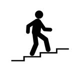 Stairs man icon. Isolated on white background Stock Photo
