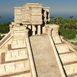 The stairs of Mayan temple 3d rendering. The stairs of Mayan temple Royalty Free Stock Photo