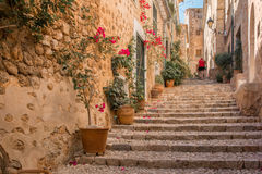 Stairs in medieval street in tuscany Royalty Free Stock Image