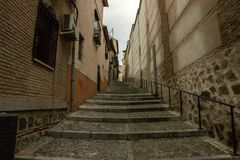 Medieval stairs in Toledo, Spain royalty free stock photos